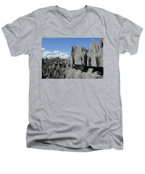 Men's V-Neck T-Shirt featuring the photograph Tsingy De Bemaraha Madagascar 2 by Rudi Prott