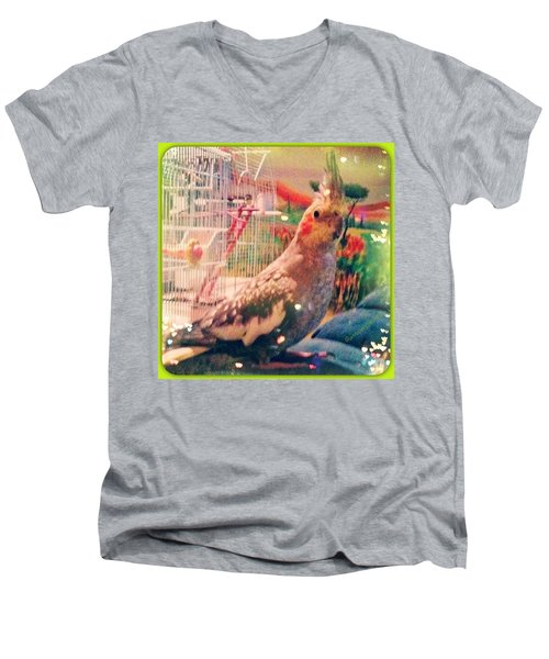 Tucker You #fillmyheartwithhappiness Men's V-Neck T-Shirt by Anna Porter