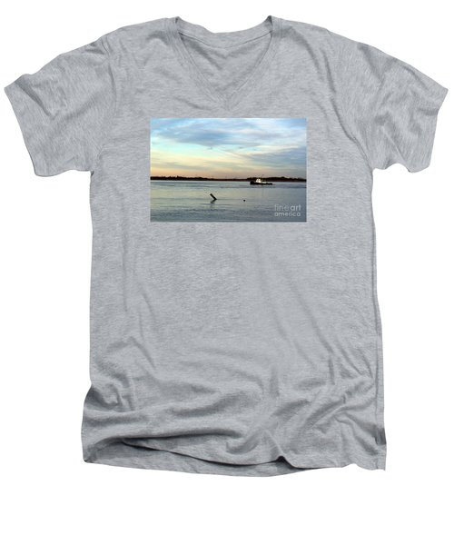 Tug Boat Men's V-Neck T-Shirt by David Jackson