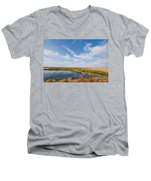 Tule Lake Marshland Men's V-Neck T-Shirt by Jeff Goulden