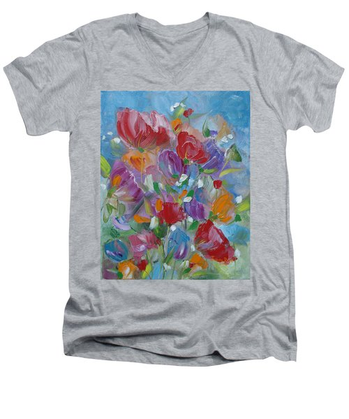 Tulip Symphony Men's V-Neck T-Shirt by Judith Rhue