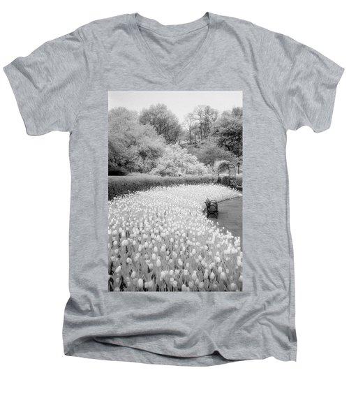 Tulips And Bench II Men's V-Neck T-Shirt