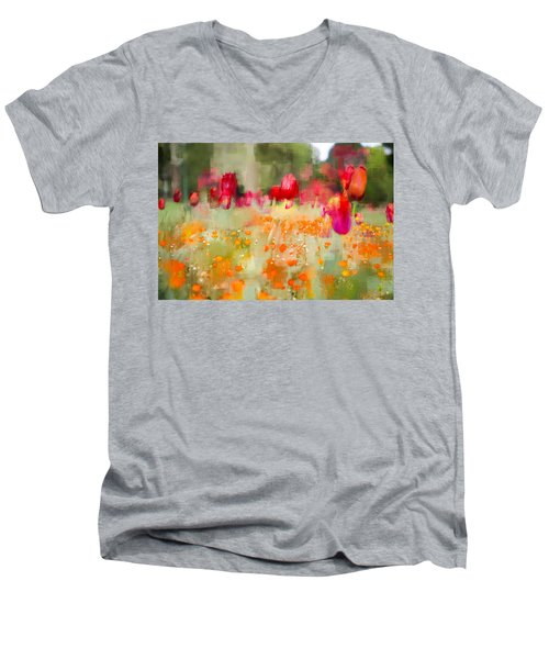 Tulips And Daisies Men's V-Neck T-Shirt