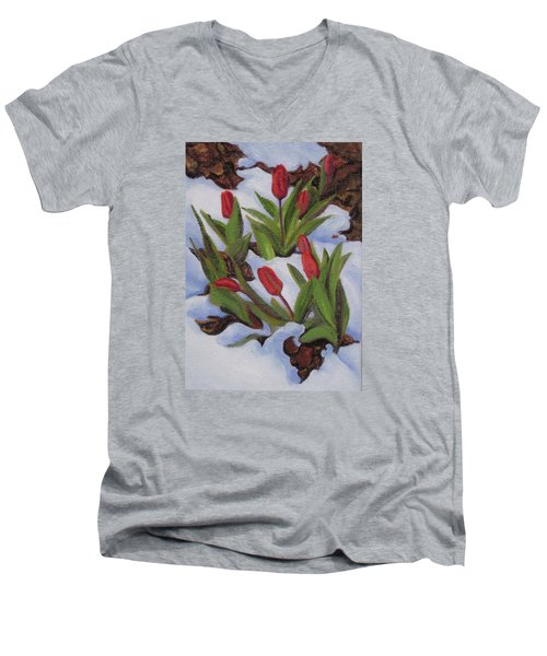 Tulips In Snow Men's V-Neck T-Shirt