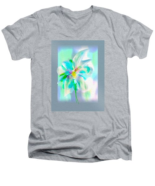 Men's V-Neck T-Shirt featuring the digital art Turquoise Bloom by Frank Bright