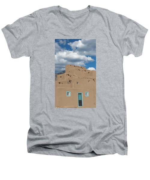 Turquoise Door And Windows Men's V-Neck T-Shirt