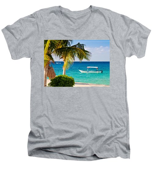 Men's V-Neck T-Shirt featuring the photograph Turquoise Waters In Cozumel by Mitchell R Grosky