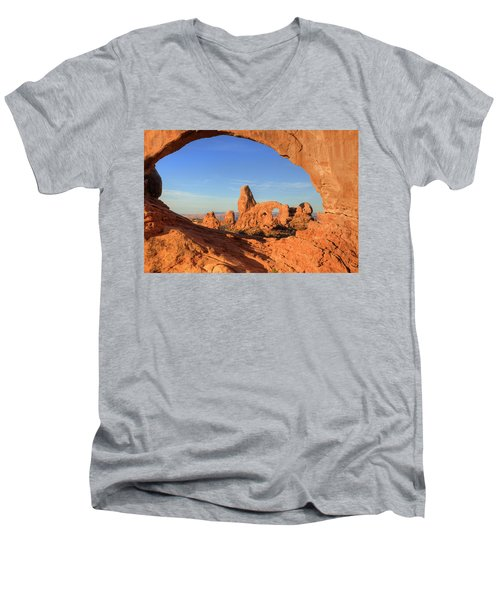 Men's V-Neck T-Shirt featuring the photograph Turret Arch Through North Window by Alan Vance Ley