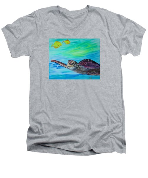 Traveling Through Men's V-Neck T-Shirt by Meryl Goudey