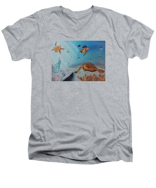 Men's V-Neck T-Shirt featuring the painting Turtles At Sea by Dianna Lewis