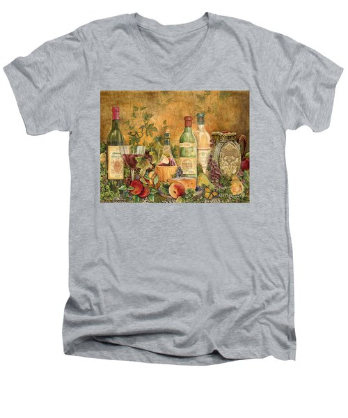 Tuscan Wine Treasures Men's V-Neck T-Shirt by Jean Plout