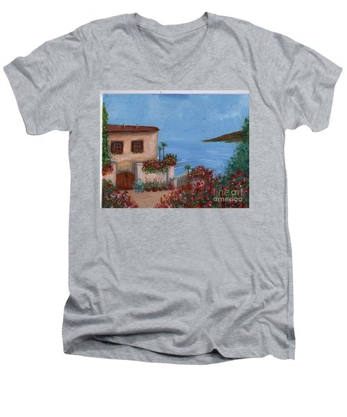 Men's V-Neck T-Shirt featuring the painting Tuscany View by Becky Lupe