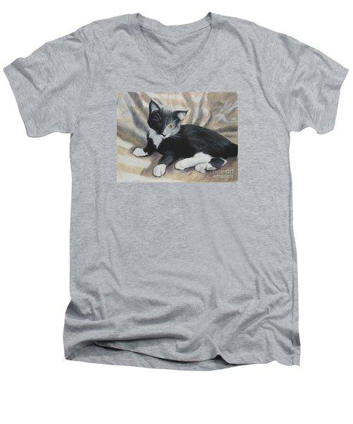 Men's V-Neck T-Shirt featuring the painting Tuxedo Kitten by Jeanne Fischer