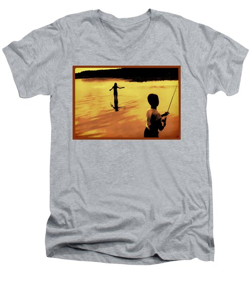 Men's V-Neck T-Shirt featuring the photograph Twilight Fishing by John Hansen