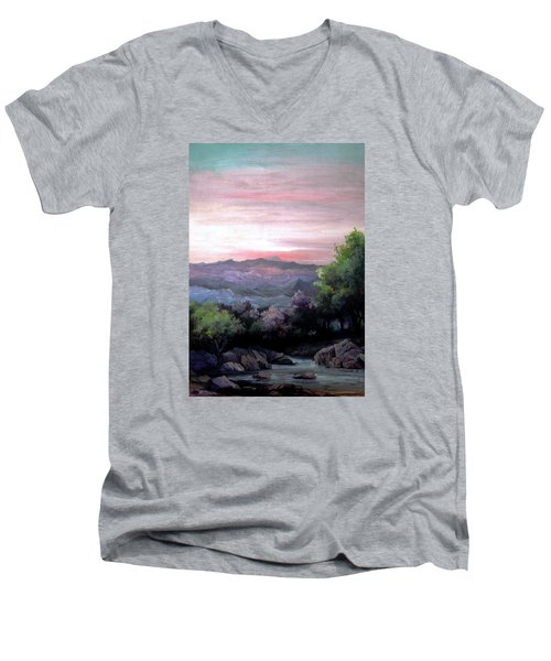 Men's V-Neck T-Shirt featuring the painting Twilight by Mikhail Savchenko