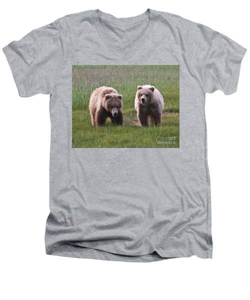 Twin Bear Cubs Men's V-Neck T-Shirt