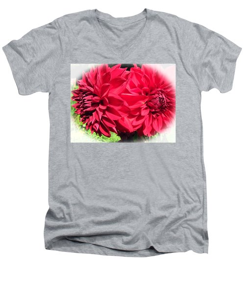 Men's V-Neck T-Shirt featuring the photograph Twin Red Dahlias by Tina M Wenger