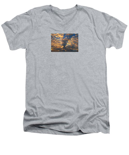 Men's V-Neck T-Shirt featuring the photograph Twisted Sunset by Janice Westerberg