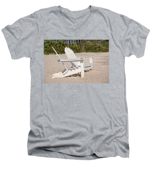 Men's V-Neck T-Shirt featuring the photograph Two Beach Chairs by Charles Beeler