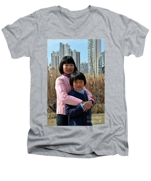 Two Chinese Teen Sisters Hug  And Embrace Shanghai China Men's V-Neck T-Shirt