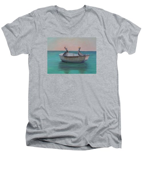 Two Friends In A Dinghy Men's V-Neck T-Shirt