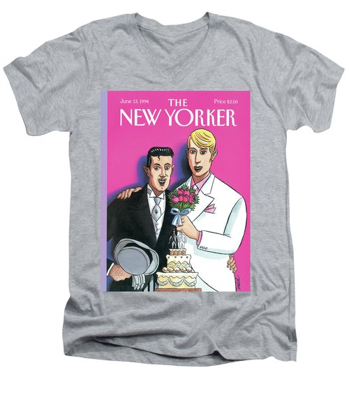 Two Grooms At Their Wedding Infront Men's V-Neck T-Shirt