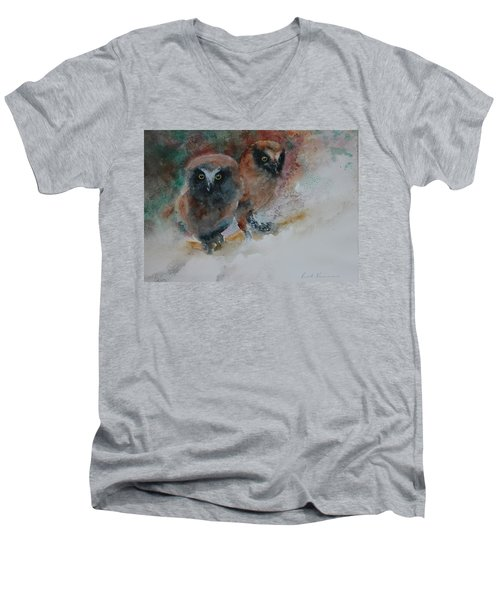 Men's V-Neck T-Shirt featuring the painting Two Hoots by Ruth Kamenev