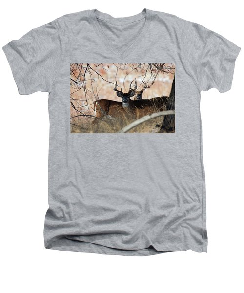 Men's V-Neck T-Shirt featuring the photograph Two In The Bush by Jim Garrison