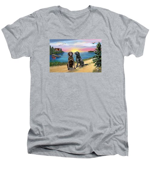 Two Labs At The Lake Men's V-Neck T-Shirt