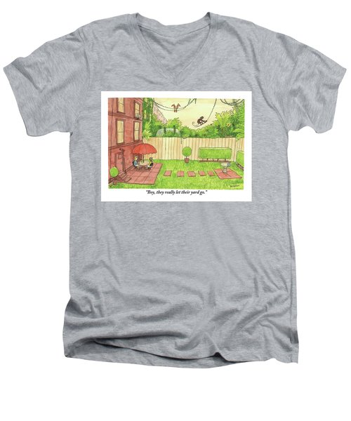 Two People Sitting On Their Back Patio Men's V-Neck T-Shirt