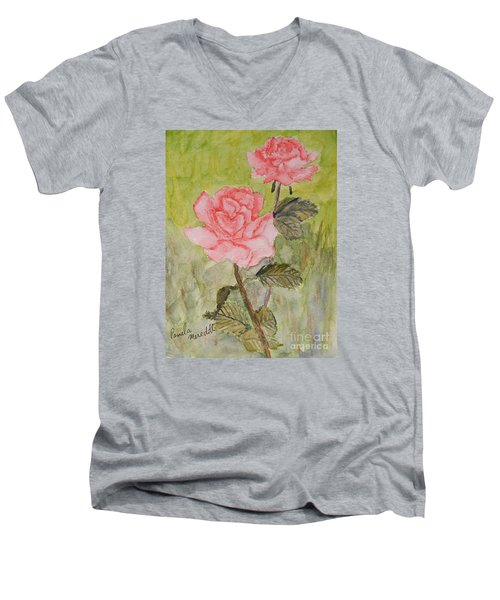 Two Pink Roses Men's V-Neck T-Shirt by Pamela  Meredith