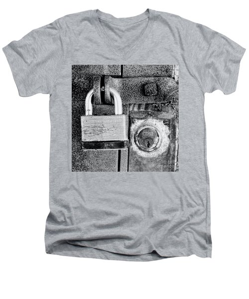 Two Rusty Old Locks - Bw Men's V-Neck T-Shirt by David Perry Lawrence