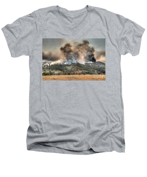Men's V-Neck T-Shirt featuring the photograph Two Smoke Columns White Draw Fire by Bill Gabbert