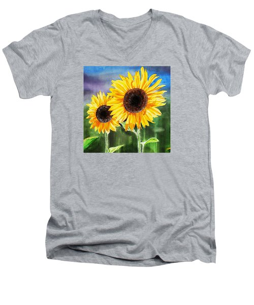 Men's V-Neck T-Shirt featuring the painting Two Sunflowers by Irina Sztukowski