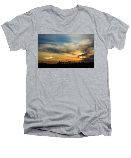 Men's V-Neck T-Shirt featuring the photograph Two Suns Over Kentucky by Peta Thames