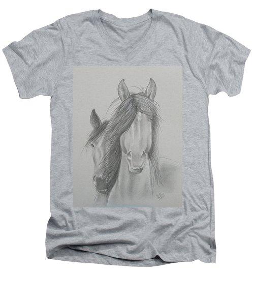 Two Wild Horses Men's V-Neck T-Shirt
