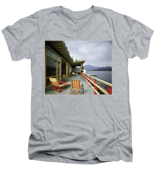 Two Women On The Deck Of A House On A Lake Men's V-Neck T-Shirt