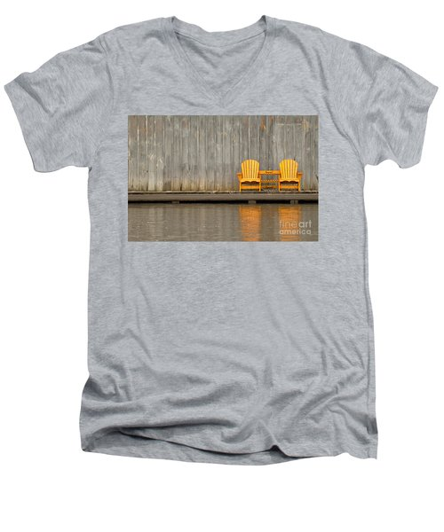 Two Wooden Chairs On An Old Dock Men's V-Neck T-Shirt
