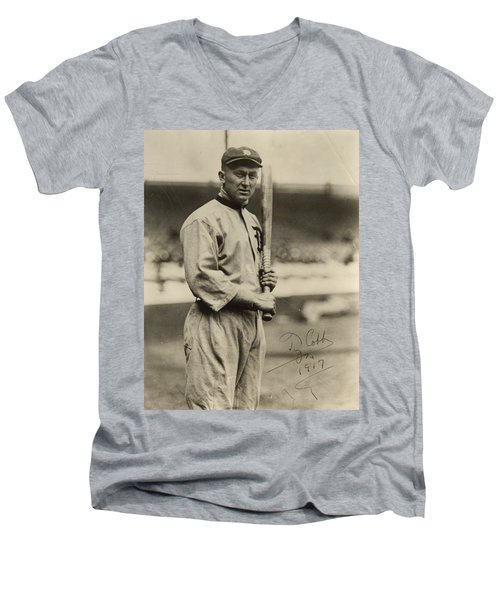Ty Cobb  Poster Men's V-Neck T-Shirt by Gianfranco Weiss