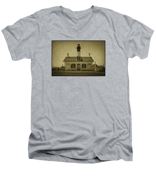 Tybee Lighthouse Men's V-Neck T-Shirt by Priscilla Burgers