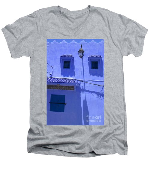 Men's V-Neck T-Shirt featuring the photograph Typical Blue Facade In The Medina Of Asilah On Northwest Tip Of Atlantic Coast Of Morocco by Ralph A  Ledergerber-Photography