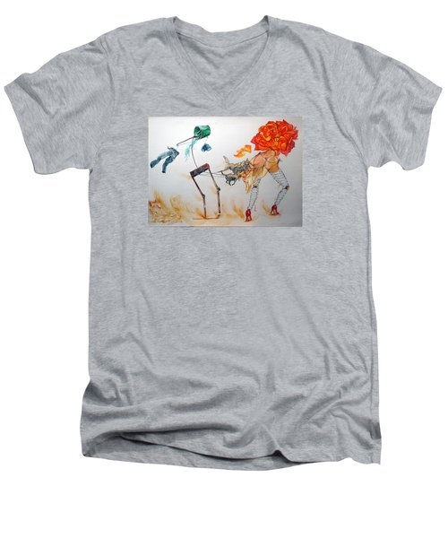 Tyrants Of Desire Men's V-Neck T-Shirt by Lazaro Hurtado