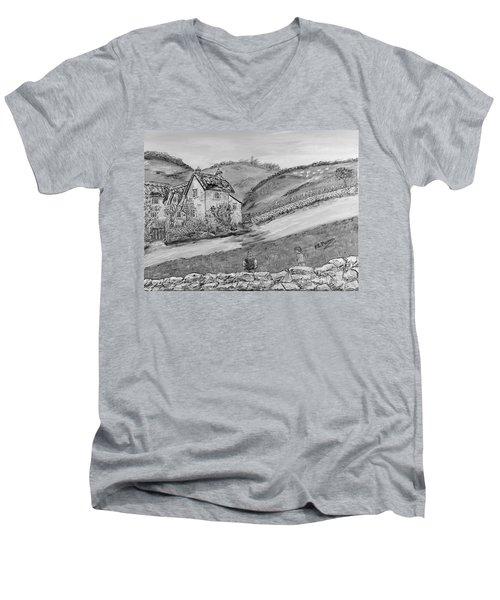 Men's V-Neck T-Shirt featuring the painting Un Pomeriggio D'estate by Loredana Messina