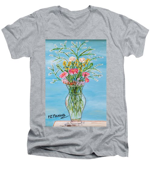 Men's V-Neck T-Shirt featuring the painting Un Segno by Loredana Messina