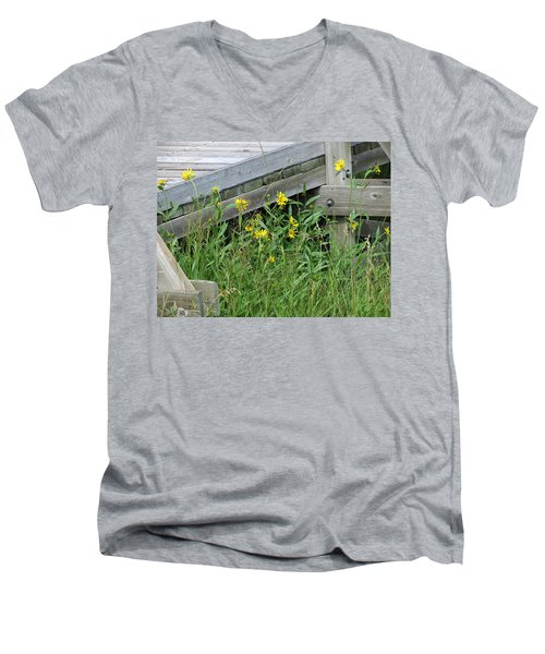 Men's V-Neck T-Shirt featuring the photograph Under The Boardwalk by Laurel Powell