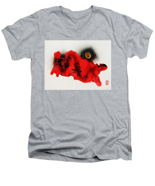 Men's V-Neck T-Shirt featuring the painting Undo To Seishin by Roberto Prusso