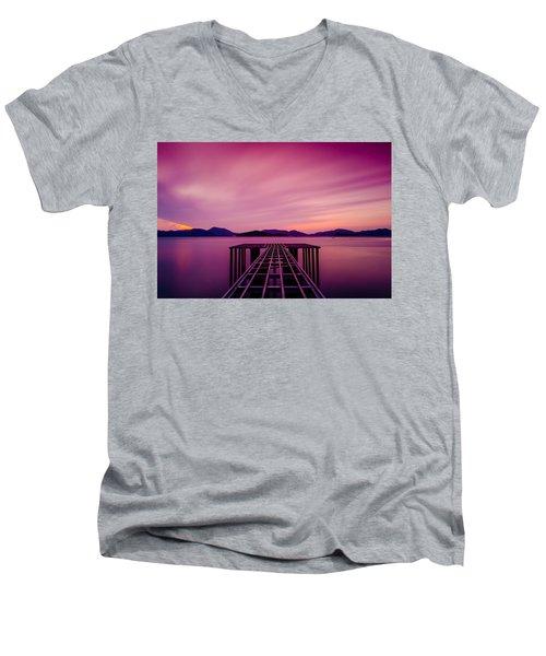 Unfinished Pier At Sunset Men's V-Neck T-Shirt