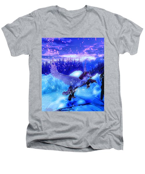 Men's V-Neck T-Shirt featuring the painting Unicorn by David Mckinney