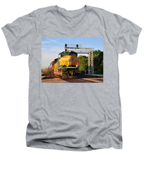 Union Pacific Chicago And North Western Heritage Unit Men's V-Neck T-Shirt