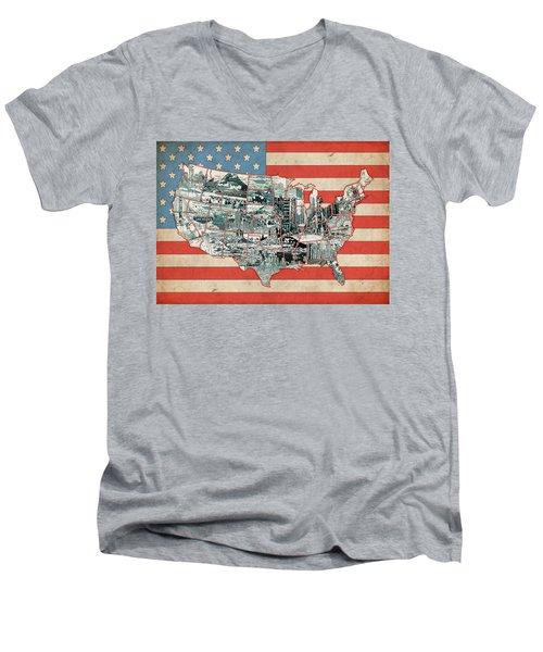 United States Flag Map Men's V-Neck T-Shirt